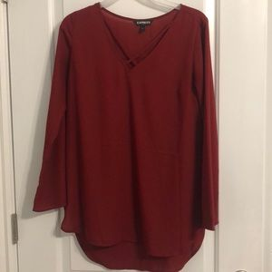 Express red long Sleeve Top